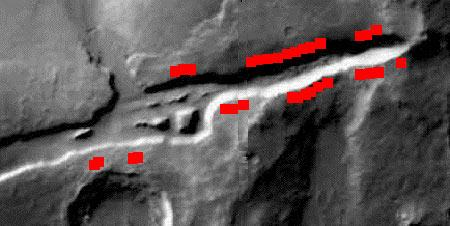Geysers erupting from a crack in the Cerberus Fossae region apparently threw muddy deposits (red bars) up to several kilometres away