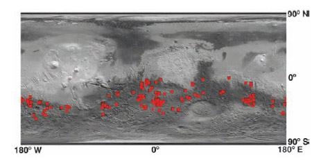Chloride salt deposits have been found in 200 places in Mars's southern hemisphere. Many are thought to have formed by the evaporation of surface or ground water. But a fair number are found in or near craters, suggesting impacts may have heated soil rich in ice or liquid water, creating a hydrothermal environment where water could have evaporated to form the deposits