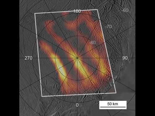 Heat radiates from the entire length of 150-kilometre-long fractures on the south pole of Saturn's icy moon Enceladus