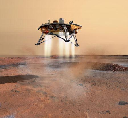 The Phoenix spacecraft is en route to land in a spot called Green Valley near Mars's north pole on 25 May (Illustration: NASA/JPL/Corby Waste)