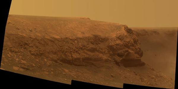 Opportunity was headed to the base of Cape Verde (shown) when its arm seized up