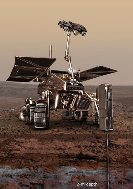 ExoMars will carry the Urey instrument and will be able to drill down 2 metres into the Martian soil (Illustration: ESA/AOES Medialab)