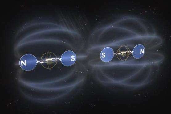 Electromagnets keep spacecraft in formation (Illustration: Benjamin Schweighart/MIT-SSL)