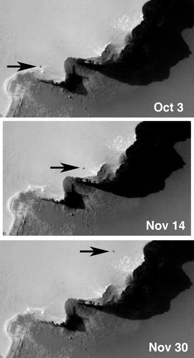 The HiRISE instrument on NASA's Mars Reconnaissance Orbiter has already spotted spacecraft on the surface of Mars. These images show the rover Opportunity close to Mars's Victoria Crater in 2006