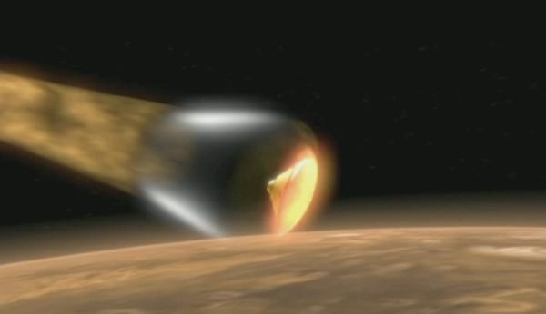 NASA's Phoenix lander will hit Mars's atmosphere travelling at 20,000 kilometres per hour (Illustration: NASA)