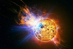 An artist's impression of the giant flare on EV Lacertae (Illustration: Casey Reed/NASA)