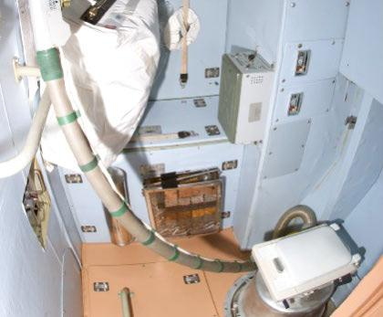 The station's sole toilet is inside the Zvezda service module