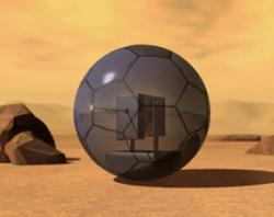 The inflatable robot would get energy from solar panels on its soccer-ball surface (Illustration: courtesy of Per Samuelsson)