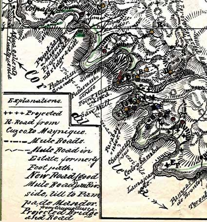 This section of Berns' handmade map shows his camp, which is marked