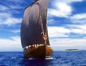 Saga Sigler, a replica of a Viking ship in Sydney Harbour, Australia in 1985
