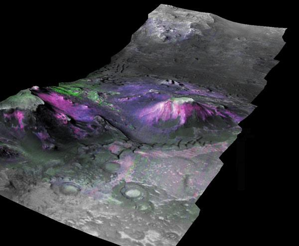 Clays (magenta and blue) are concentrated on the slopes of mesas and along canyon walls in this 3D image of a trough in the Nili Fossae region of Mars, a candidate landing site for NASA's next Mars rover