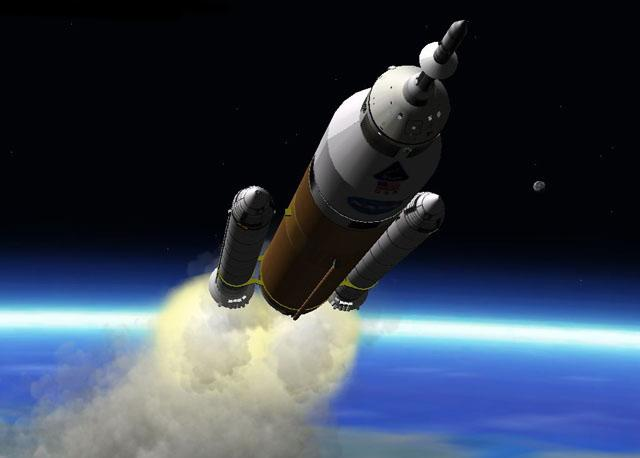 The DIRECT project uses Jupiter rockets whose design is similar to the shuttle's launch system – using a large fuel tank and two solid rocket boosters (Illustration: Directlauncher.com)