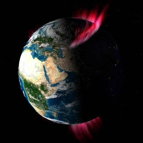 Reconnecting magnetic fields, situated roughly a third of the distance to the Moon, can fire particles towards Earth to create the aurora (Illustration: Walt Feimer/NASA/GSFC)