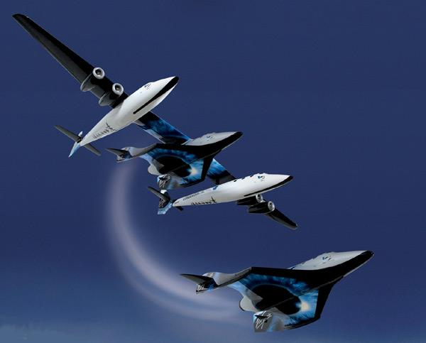 SpaceShipTwo will drop away from WhiteKnightTwo at an altitude of about 15 km before firing a rocket to bring it to the edge of space at 100 km (Illustration: Virgin Galactic)