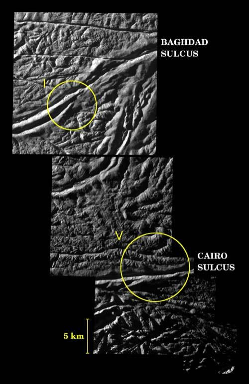 Two geyser vents (I and V) are seen in the Baghdad and Cairo tiger stripes