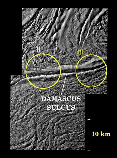 A mosaic of two images shows two geyser vents (II and III) in a tiger stripe fissure called Damascus Sulcus