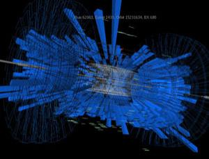 One of the first images from the CMSdetector, a key component of the LHC, showing the debris of particles picked up in the detector's calorimeters and muon chambers after the beam was steered into the collimator (tungsten block) at point 5