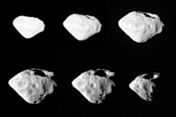 Asteroid Steins is seen from two different perspectives in these images taken during Rosetta's flyby on Friday. A large crater about 1.5-km wide can be seen at the top of the asteroid