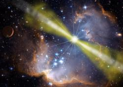 Collapsing stars may produce gamma-ray bursts by blasting out jets with two components: a narrow, super-fast jet, as well as a wider one. Narrow beams will only rarely point at Earth (Illustration: NASA/Swift/Mary Pat Hrybyk-Keith/John Jones)