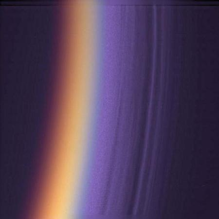 Cassini imaged the many layers of Titan's upper atmosphere in this ultraviolet image, which has been adjusted to look like true colour