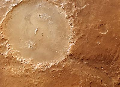 Holden Crater is one of three possible landing sites chosen for the Mars Science Laboratory spacecraft