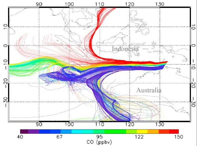 An invisible barrier separates the carbon-monoxide-rich air of South-East Asia from the pristine air of the Southern Ocean