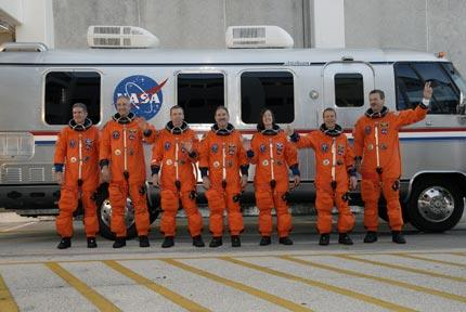 The Atlantis crew after a dress rehearsal for the mission to service the Hubble Space Telescope