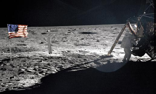 Neil Armstrong walks on the moon during the Apollo 11 mission. Armstrong has urged NASA to focus on humanity's future in space