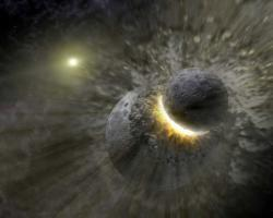 A collision between planets,like the one illustrated, could have caused the odd orbit of XO-3b (Illustration: NASA/JPL-Caltech)
