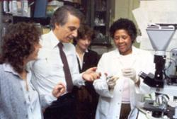 Robert Gallo, surrounded by (left to right) Sandra Eva, Sandra Colombini, and Ersell Richardson