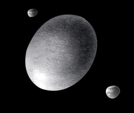 Haumea's two moons likely formed in an ancient collision – their orbits suggests Hi'iaka, the outer one, weighs 0.5% as much as Haumea and Namaka just 0.05% (Illustration: Ann Feild/STScI/ESA/NASA)