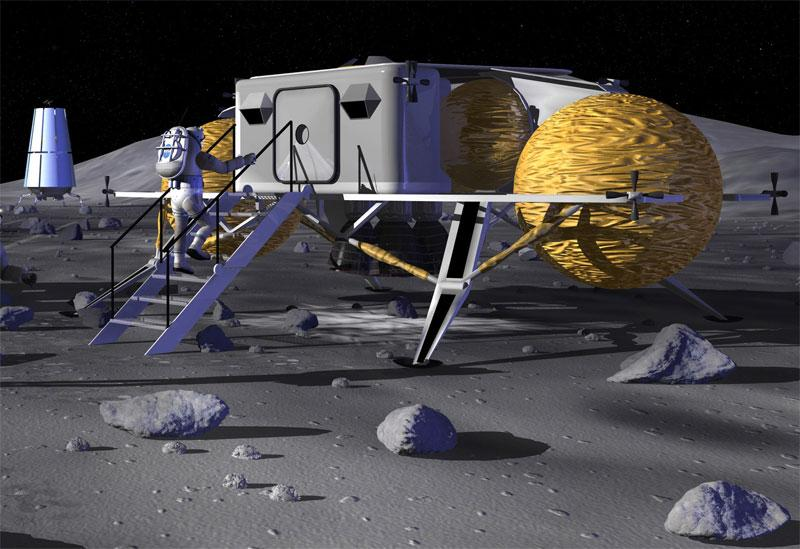 An artist's impression of a future moon base built with transported materials. Concrete from lunar dust could avoid this expense