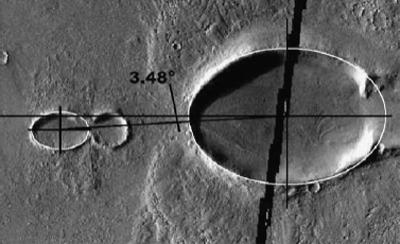 The alignment of two oval-shaped craters - one spanning 10 km (right) and the other, 3 km - hints they might have been gouged out by a fallen moon that broke apart in Mars's atmosphere