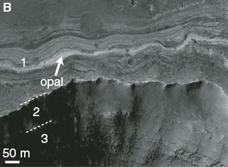 The spectral signature of opal was found in the Vallis Marineris canyon system using the high-resolution CRISM spectrometer aboard NASA's MRO spacecraft. Since the mineral appears in narrow outcrops, previous spectrometers did not have the resolving power needed to find the mineral's signature