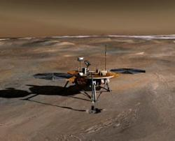 Is Mars lander standing in what was once a puddle?