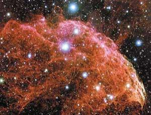 IC 443 (also known as the Jellyfish Nebula), a galactic supernova remnant in the constellation Gemini
