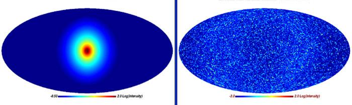 In the new simulation, the signal-to-noise ratio of dark matter from the Milky Way's halo (left) was much larger than that from smaller clumps of dark matter (right) (Illustration: Virgo Consortium)