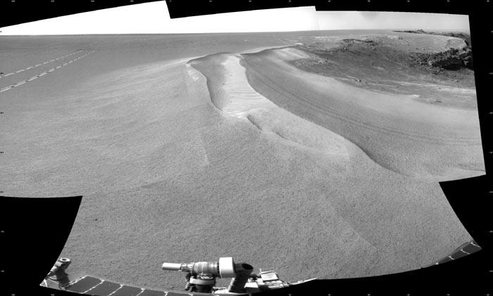 The Opportunity rover climbed out of Victoria Crater (right) in late August