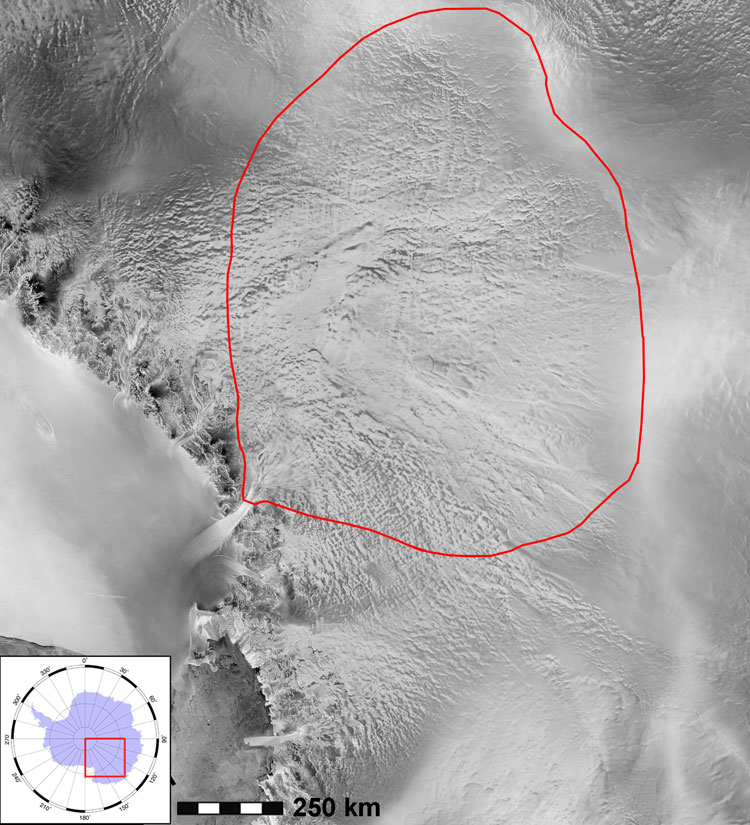 Byrd glacier has one of the largest catchment basins in Antarctica and funnels 20 gigatonnes of ice to the Ross ice shelf (bottom left) each year