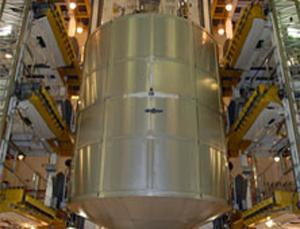 The Multi-Purpose Logistics Module holds equipment bound for the space station