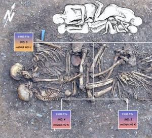 A Late Stone Age family grave, showing the careful arrangement of bodies. The photo is overlain by a pedigree reconstructed from the genetic results with squares denoting male