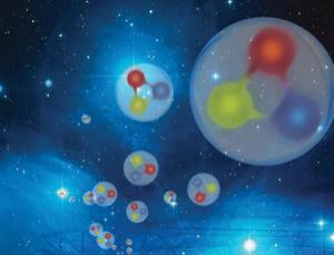 Each proton is made of three quarks, but the individual masses of these quarks only add up to about 1% of the proton's mass (Illustration: Forschungszentrum Julich/Seitenplan/NASA/ESA/AURA-Caltech)