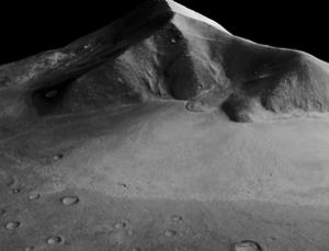A 13-km-long apron of rocky debris seems to have flowed from this Martian mountain near the Hellas impact basin. New radar measurements suggest an icy glacier hundreds of metres thick lies beneath the surface