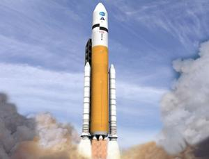 NASA's Ares V will be able to lift larger and heavier objects than any existing rocket (Illustration: NASA-MSFC)