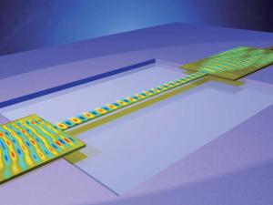 A schematic illustration of a free-standing waveguide that resonates when a beam of light is passed through it