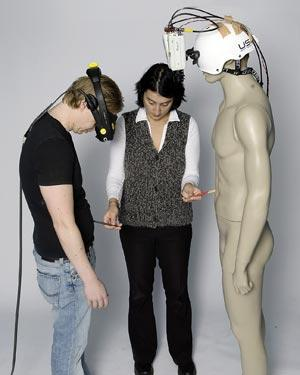 Wearing goggles hooked up to cameras on a mannequin gave the illusion that the mannequin's body was the subject's own (Credit: Staffan Larsson)