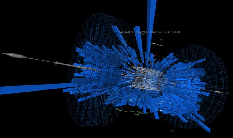 In September this image was recorded when some of the first protons to be accelerated inside the Large Hadron Collider smashed into an absorbing device called a collimator at near light speed, producing a shower of particle debris. After a fault just nine days later, the accelerator faces a $29 million repair bill and will be working again in late summer 2009 at the earliest.