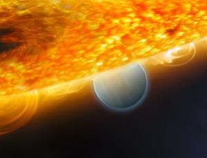 A hot Jupiter called HD 189733b boasts carbon dioxide, methane and water vapour - all potential signs of life. Though this planet is too hot for life, the detections offer hope that the basic chemistry for life can be measured on planets orbiting other stars (Illustration: ESA/NASA/M Kornmesser/Hubble/STScI)