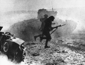 Flanked by tanks and under the cover of a smoke screen, Scottish guards charge into action on the Egyptian front at El Alamein during the second world war. Were the brightest at the front?