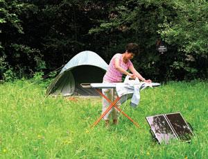 Using solar power for ironing while camping